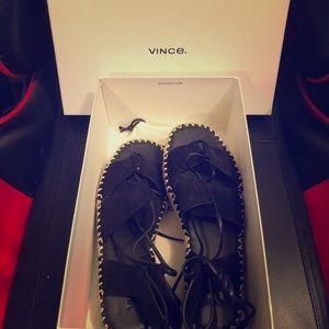Vince Black Suede Strap on Sandals